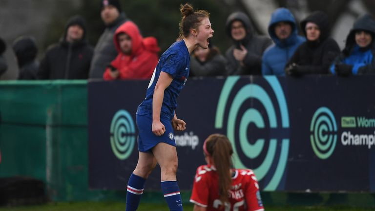 Emily Murphy of Chelsea celebrates after scoring her team's fourth goal
