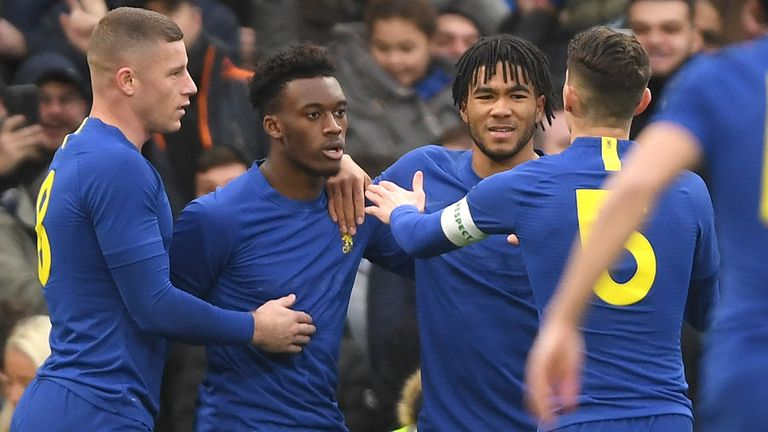 Hudson-Odoi is congratulated by team-mates after his early goal
