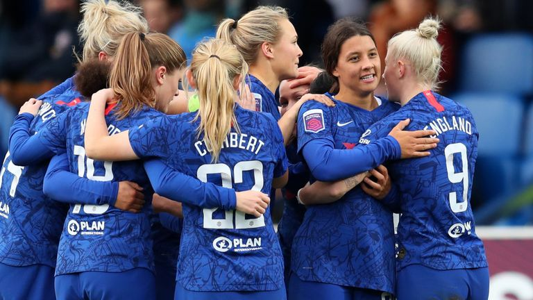 Sam Kerr celebrates with team-mates during Chelsea's win