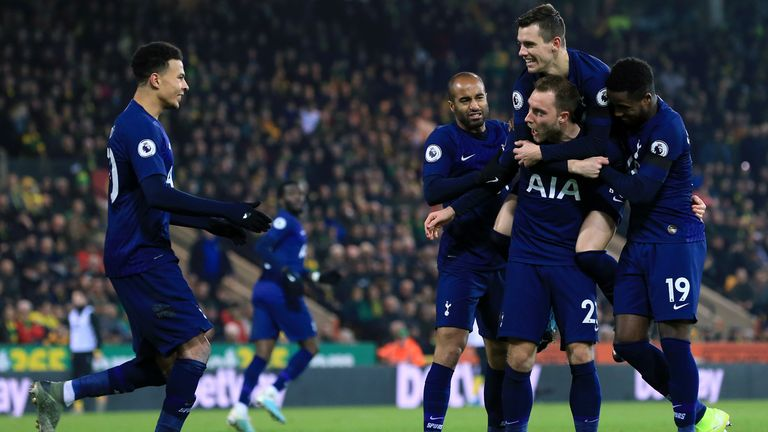 Eriksen celebrates with team-mates Lucas Moura, Giovani Lo Celso, Ryan Sessegnon and Dele Alli after scoring against Norwich City