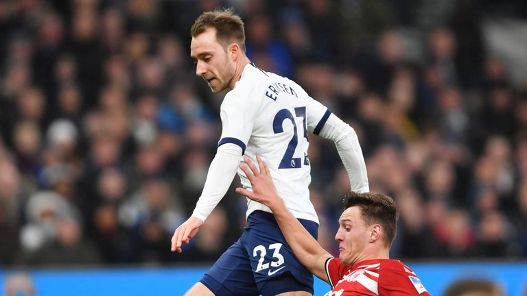 Eriksen was jeered by Spurs fans before kick-off