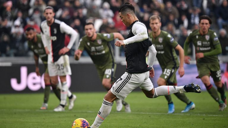 Ronaldo struck his second from the penalty spot as Juventus moved top