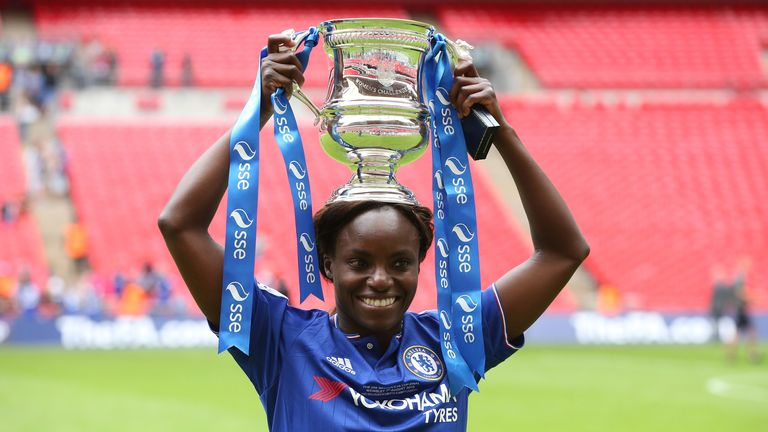 Eni Aluko with the trophy following Chelsea's win in the Women's FA Cup Final in 2015