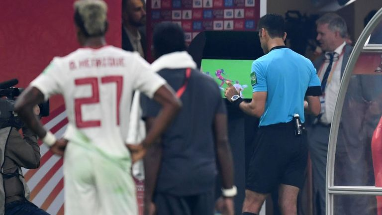 Liverpool were denied a penalty in the World Club Cup Final after the referee used the pitchside monitor
