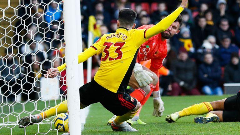 Ignacio Pussetto makes a goal-line clearance to keep the score level
