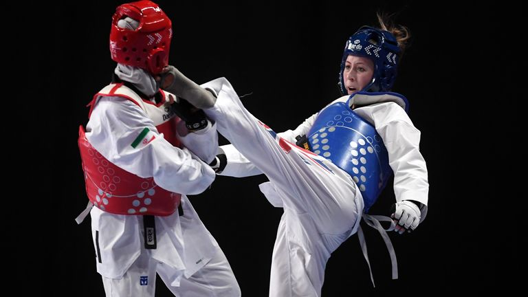 Jones (right) earned the nickname 'The Headhunter' when she arrived at the British Taekwondo Academy in Manchester in 2009
