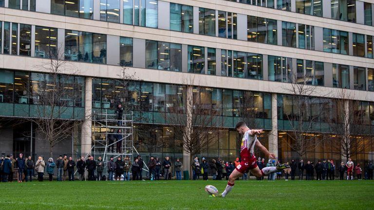 Former Skolars loanee James Barran kicks a conversion for Wigan