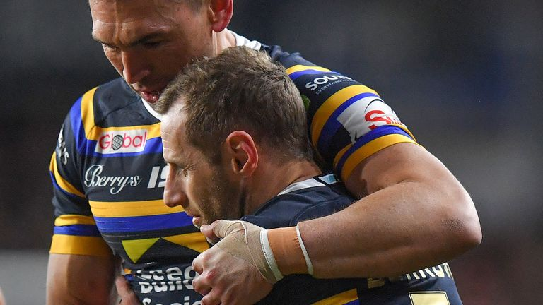 Kevin Sinfield hugs Rob Burrow during emotional day at Headlingley