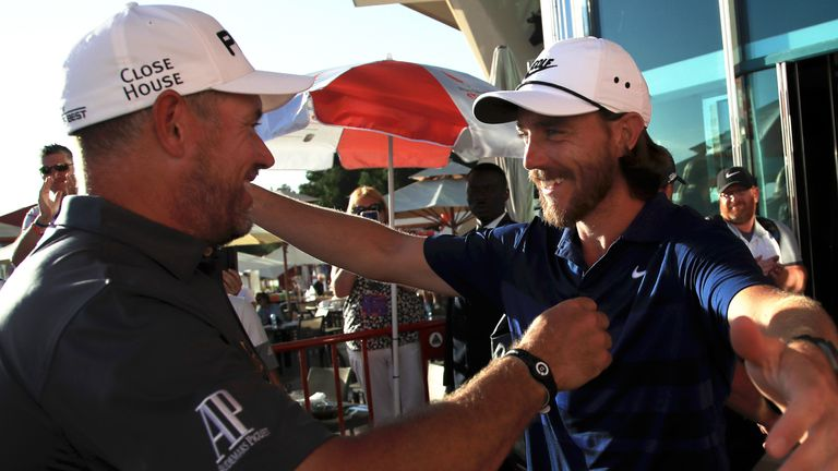 Fleetwood was among the players to congratulate Westwood on his victory