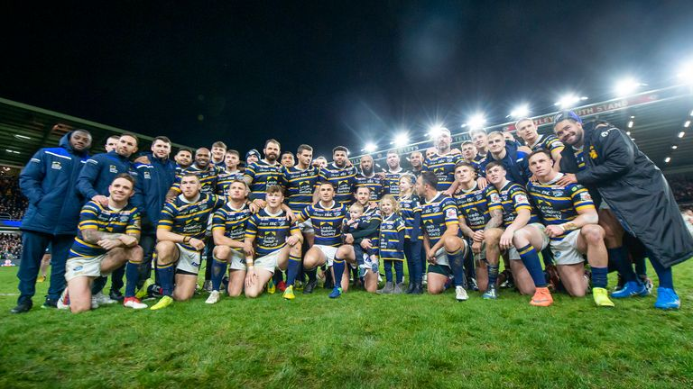 The Leeds players pose after the pre-season game against Bradford