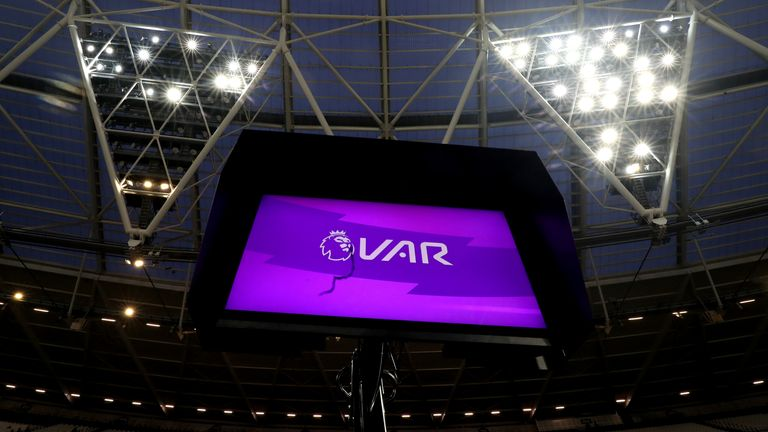 A VAR pitchside monitor at the London Stadium