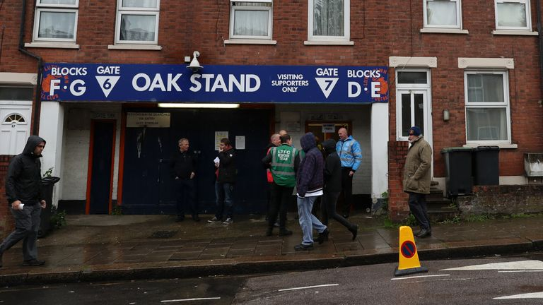 The Oak Road end at Kenilworth Road where away fans enter