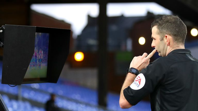 Michael Oliver used a monitor in the FA Cup tie between Crystal Palace and Derby this month