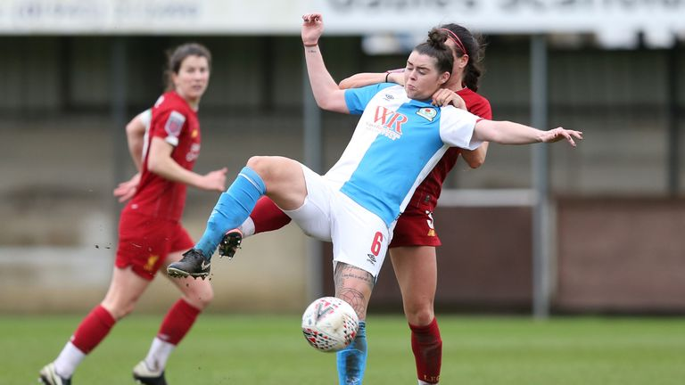 Natasha Flint looks to hold up the ball for Blackburn during a one-sided match