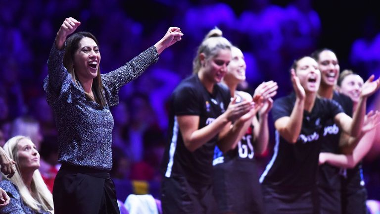 Noeline Taurua and the Silver Ferns celebrate during the Netball World Cup in Liverpool