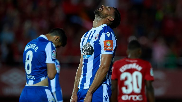 Mari looks to the heavens during Deportivo's play-off against Mallorca