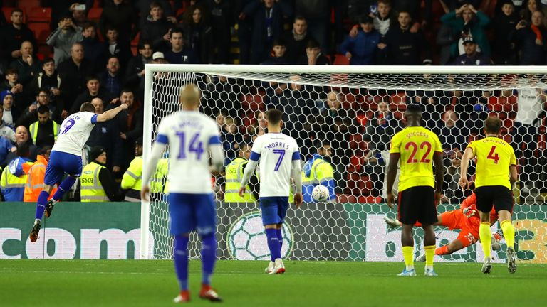 Paul Mullin thumps Tranmere level from the penalty spot against Watford