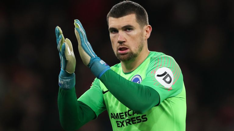 Mat Ryan made five saves in Brighton's 1-0 defeat at Everton