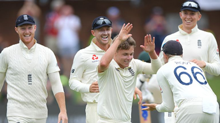 Sam Curran celebrates the wicket of Quinton de Kock