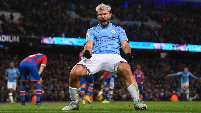 Sergio Aguero celebrates scoring his and Man City's second goal of the game