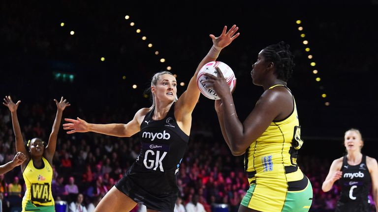 Watson showing her exceptional reach against Jhaniele Fowler