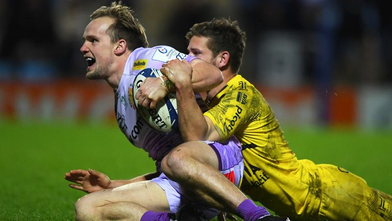 Stu Townsend got Exeter's fifth try against La Rochelle