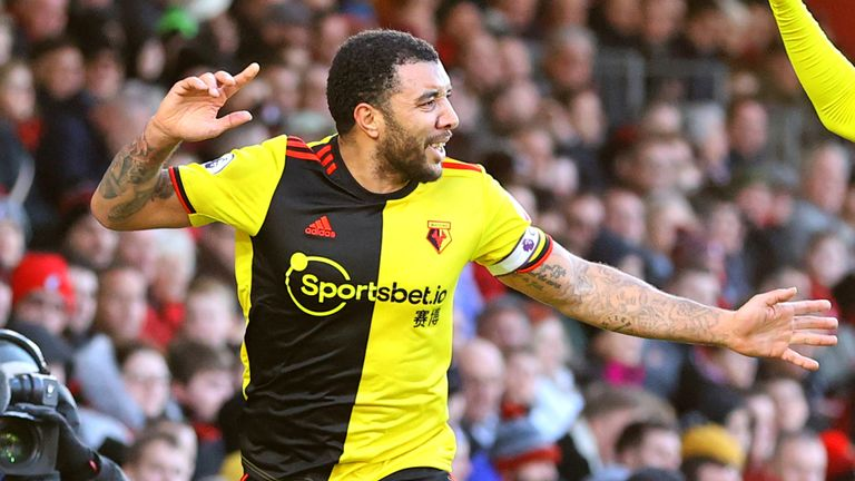 Troy Deeney scored Watford's second goal in their 3-0 over Bournemouth on Sunday