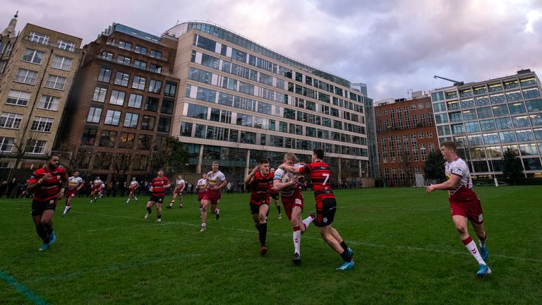 Office blocks provide the backdrop for the Skolars' Capital Challenge against Wigan at the Honourable Artillery Company