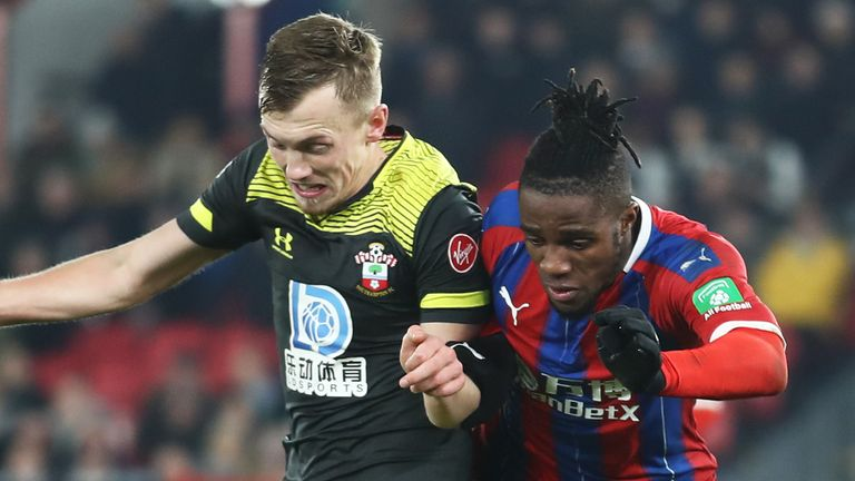 Wilfried Zaha escaped a VAR red card after clashing with James Ward-Prowse