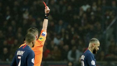 Neymar was sent off for the second time in his PSG career