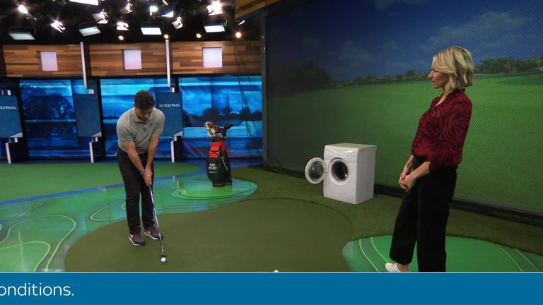 McIlroy recreated an iconic video of him chipping balls into a washing machine as part of a special series for GOLFPASS.