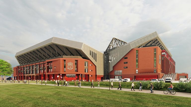 Computer generated image showing outside of new Anfield Road Stand