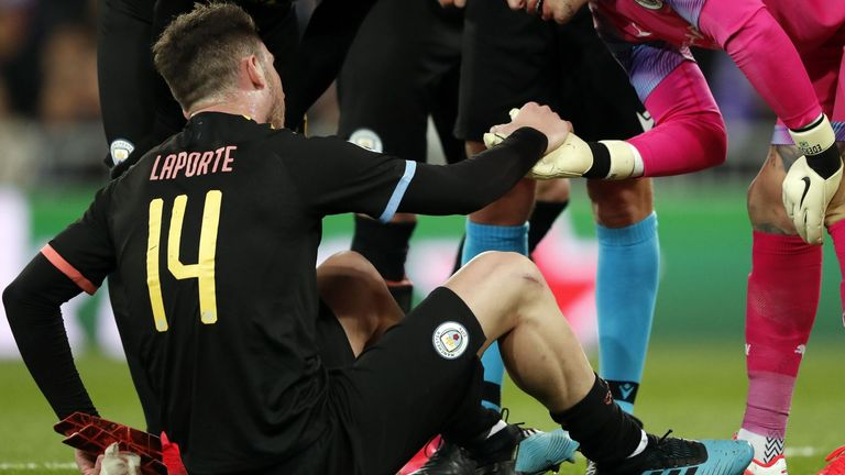 Aymeric Laporte limped out of Manchester City's last-16 Champions League clash at Real Madrid
