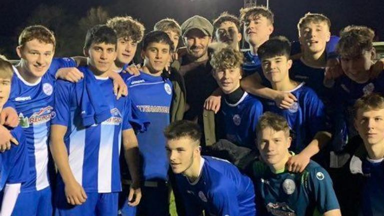 David Beckham was pictured with the Clevedon Town U18 side on Wednesday night. Picture: Clevedon Town AFC/Dave Carey