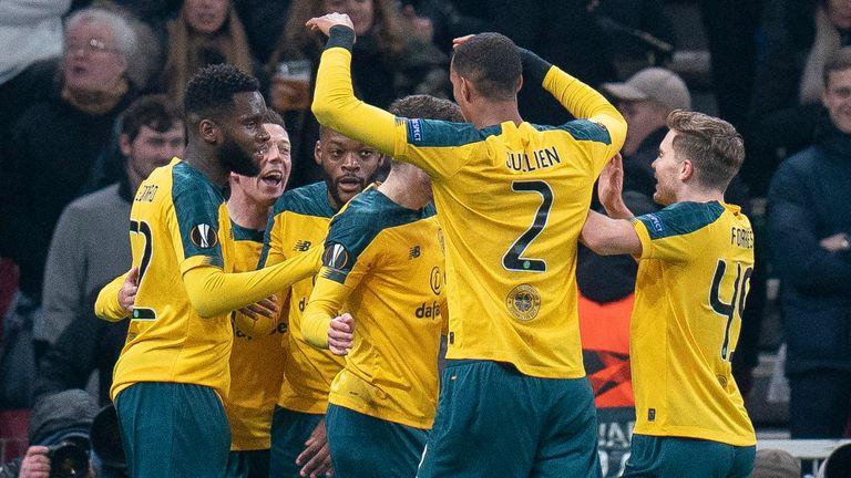 Odsonne Edouard celebrates his goal against Copenhagen