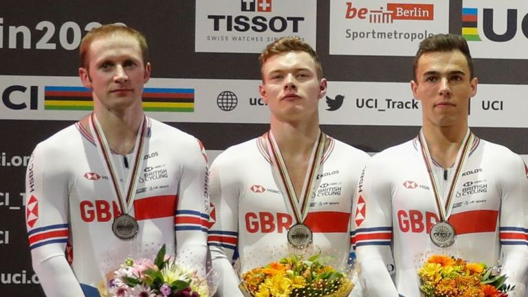 Jason Kenny, Jack Carlin and Ryan Owens win silver for Great Britain in the men's team sprint in Berlin.