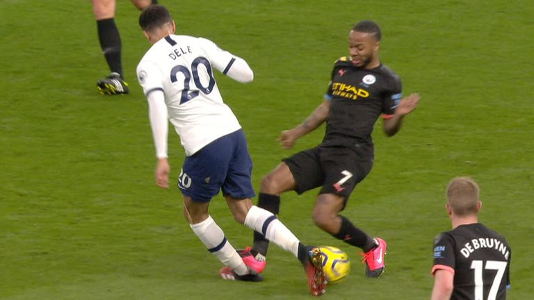 Raheem Sterling was booked for this challenge on Tottenham's Dele Alli