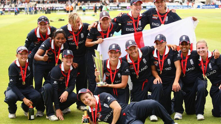 Greenway (fourth from left) celebrates with her England team-mates after winning the 2009 Women's T20 World Cup