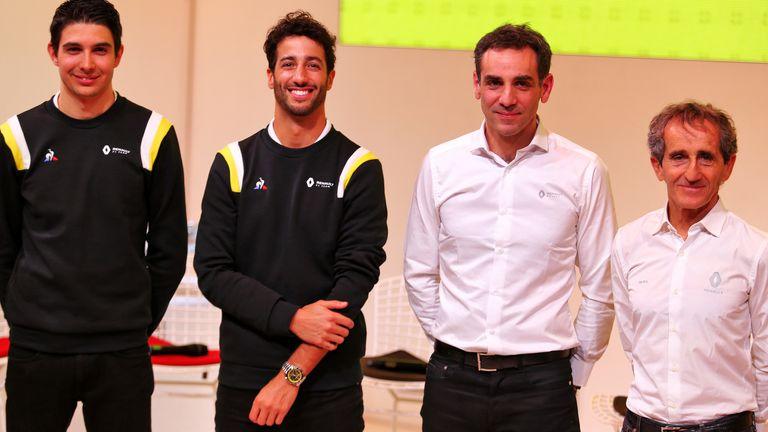 Esteban Ocon, Daniel Ricciardo, Cyril Abiteboul and Alain Prost at Renault's 'season launch' in Paris