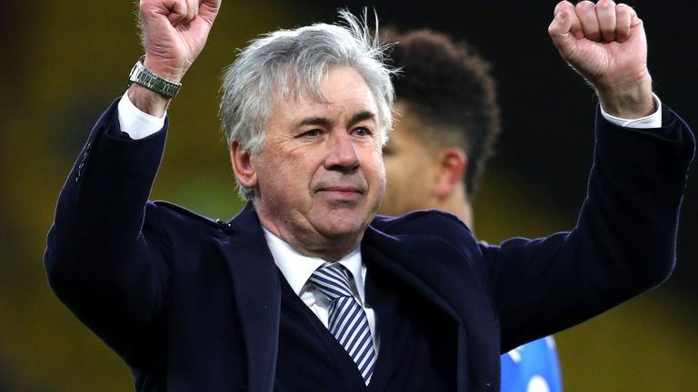 Carlo Ancelotti has earned 17 points from his first eight Premier League games at Everton