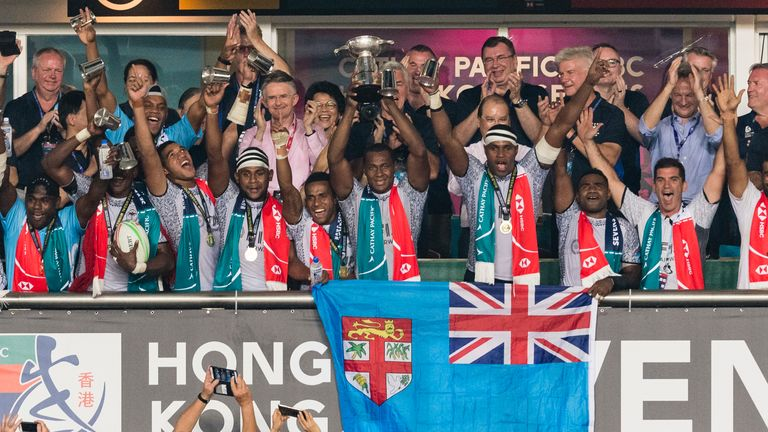 Fiji celebra la victoria en los Hong Kong Sevens 2019