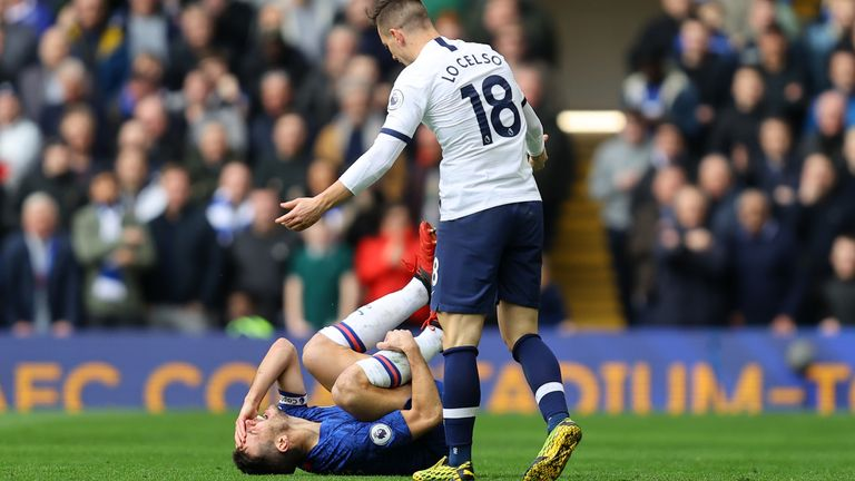 Giovanni Lo Celso protests his innocence after his challenge on Cesar Azpilicueta