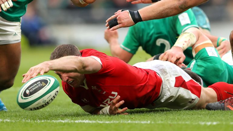 Hadleigh Parkes is unable to keep control of the ball as he reaches for the tryline