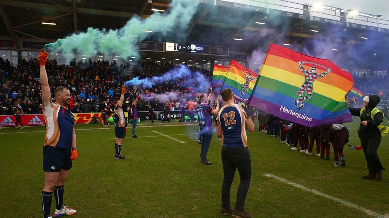 Rainbow smoke flares were released before kick-off at the Twickenham Stoop on Saturday