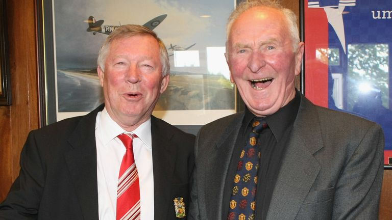 Sir Alex Ferguson joined Gregg at a Harry Gregg testimonial match between an Irish League XI and a Manchester United XI at Windsor Park in 2012