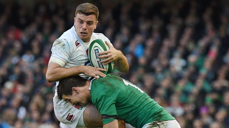 Sexton tackles Ford during a Six Nations clash back in 2015