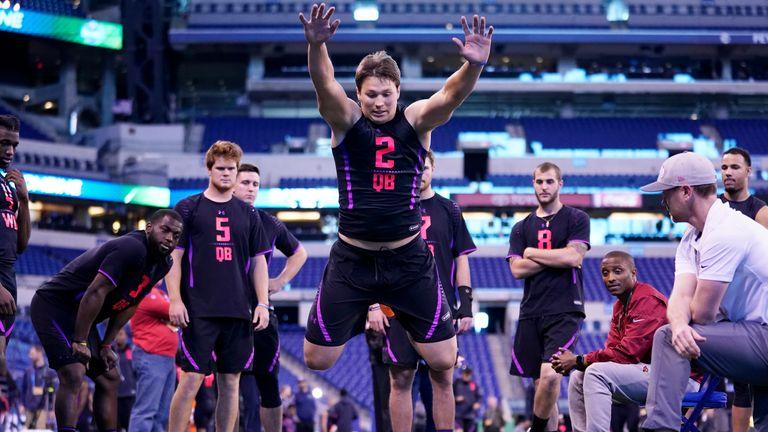 Buffalo Bills quarterback Josh Allen competes in the broad jump in 2018