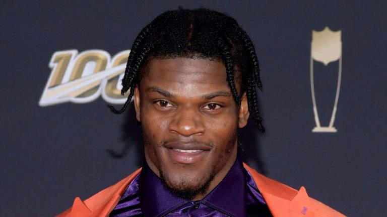 Lamar Jackson attends the 9th Annual NFL awards