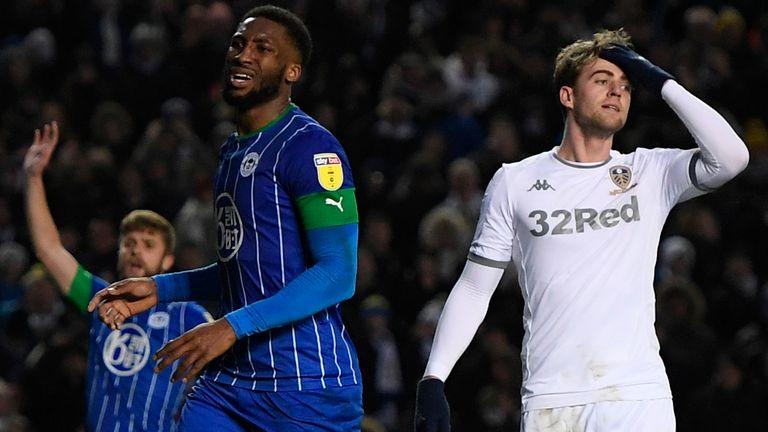 Patrick Bamford reacts during Leeds' 1-0 defeat to Wigan at Elland Road
