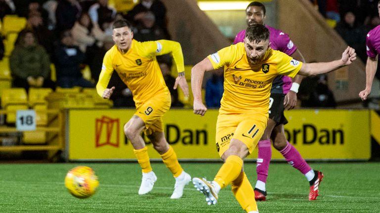 Livingston's Steven Lawless scores the opening goal against St Mirren